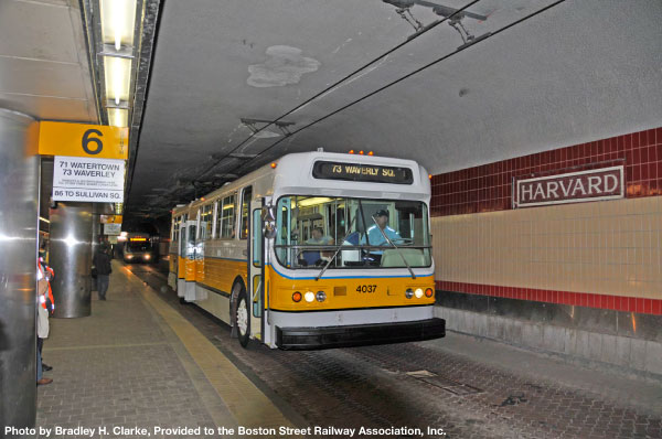 "Ex-MBTA Flyer Trackless Trolley No. 4037 at a photo stop in the Harvard Square upper bus tunnel during a ""Farewell to the Flyers"" BSRA fan trip on May 2, 2009."