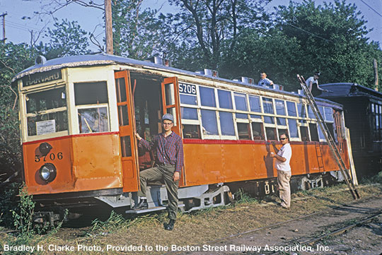 Left to right, Ed Anderson, Paul Harling, David Harling, and Bob Stanley work on 5706 at Branford Trolley Museum in Connecticut in 1968.