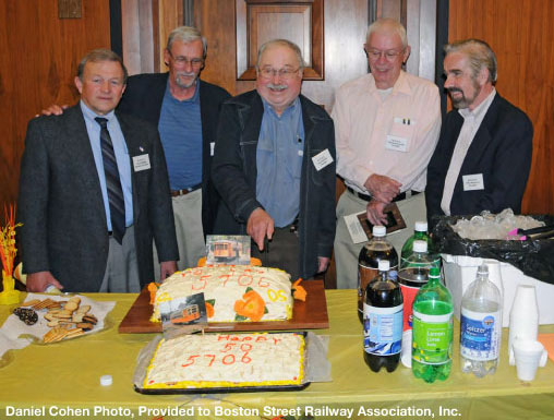 Left to right, BSRA founders Dave Harling, Robert McCarthy, Paul Harling, Charlie Reynolds, and Paul Miglierina cut the cake at our 50th Anniversary Meeting in Boston on June 6, 2009.
