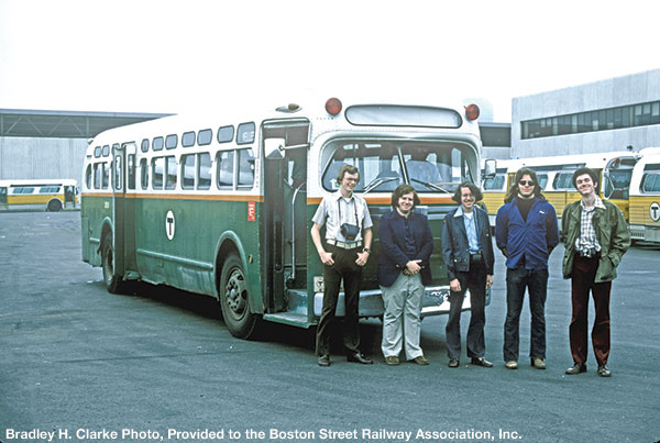 Attendees pose on a BSRA fantrip in front of an ex-Eastern Mass. Street Railway GMC bus, June 15, 1975.