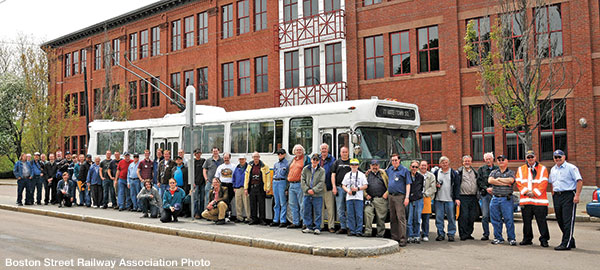 "A group shot at Watertown Square on the BSRA's ""Farewell to the Flyer Trackless Trolleys"" fantrip, May 2, 2009."