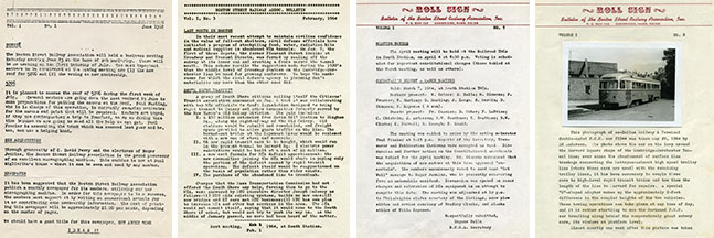 """From left to right: Volume 1, Number 1, June 1962 (""""???""""); Vol. 1, No. 3, Feb. 1964 (""""BSRA Bulletin""""); Vol. 1, No. 5, April 1964 (""""Rollsign""""); and Vol. 1, No. 8 (First issue with a photo)."""